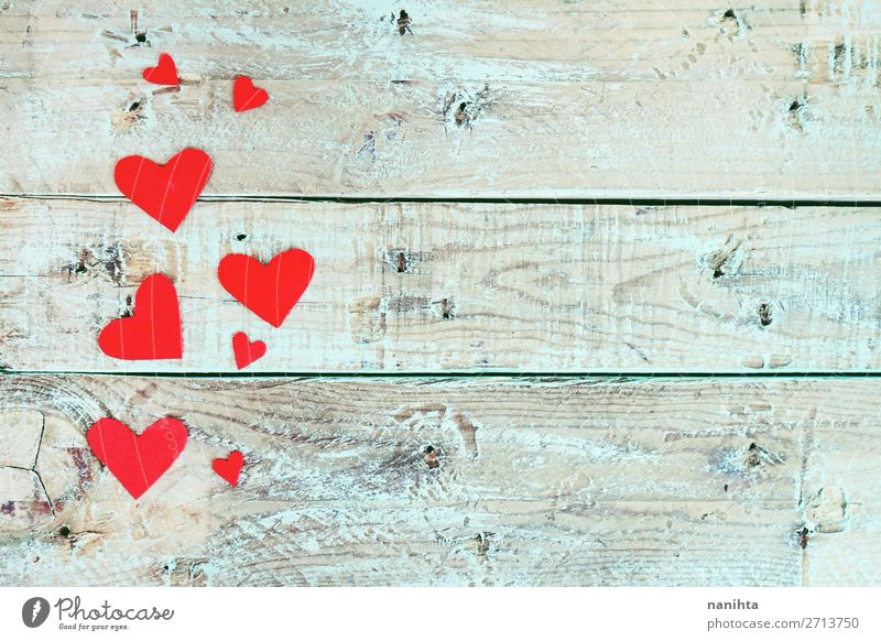 Valentine's day background with red hearts Style Design Decoration Feasts & Celebrations Valentine's Day Wood Heart Love Cute Blue Red Turquoise Romance