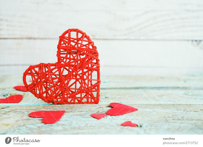Blue Colour Beautiful Red Wood Love Copy Space Design Decoration Fresh Heart Happiness Gift Romance Cute Idea