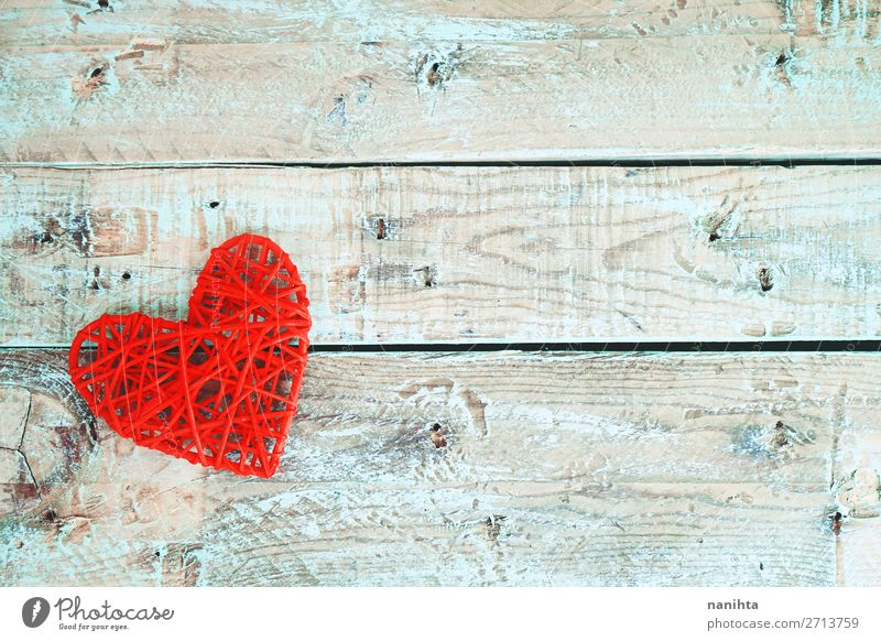 Valentine's day background with red hearts Design Decoration Valentine's Day Wood Heart Love Happiness Fresh Healthy Beautiful Uniqueness Cute Red Turquoise