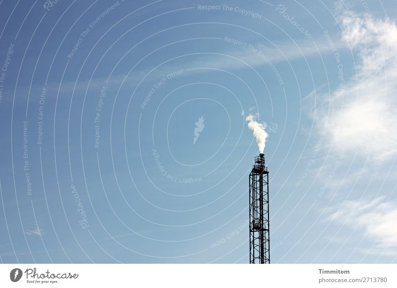 Become big!? Industry Technology Sky Clouds Beautiful weather Metal Steel Blue Black White Chimney Exhaust gas Colour photo Exterior shot Deserted Day