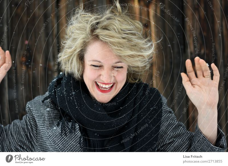 It wasn't me! hands up, snow, blonde, laughing Beautiful Vacation & Travel Tourism Winter Snow Winter vacation Woman Adults 1 Human being 18 - 30 years