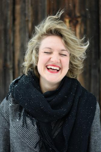 WOMAN - LAUGHTER - SNOW - CLOSED EYES already Healthy Health care Tourism Winter Snow Winter vacation Woman Adults 1 Human being 18 - 30 years