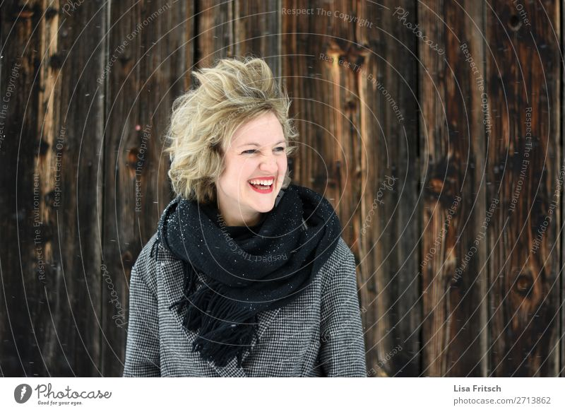 so much wind! Woman, blonde, red lips, wooden wall Beautiful Vacation & Travel Adults 1 Human being 18 - 30 years Youth (Young adults) Environment Wind Gale