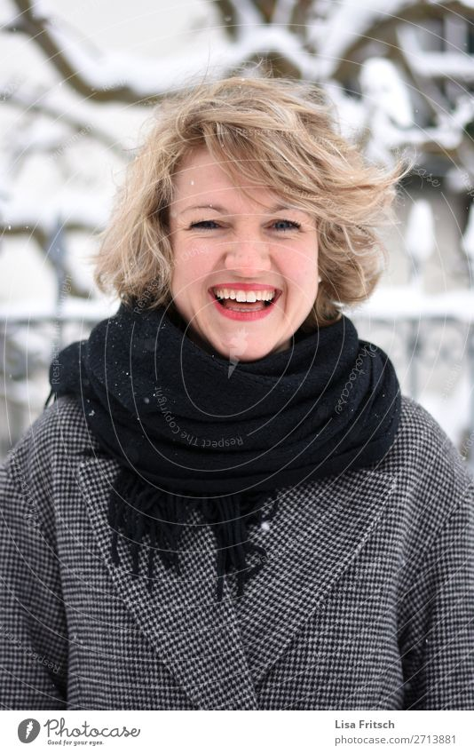 joy, blonde woman, red lipstick Beautiful Woman Adults 1 Human being 18 - 30 years Youth (Young adults) Coat Scarf Blonde Short-haired Curl Laughter Esthetic