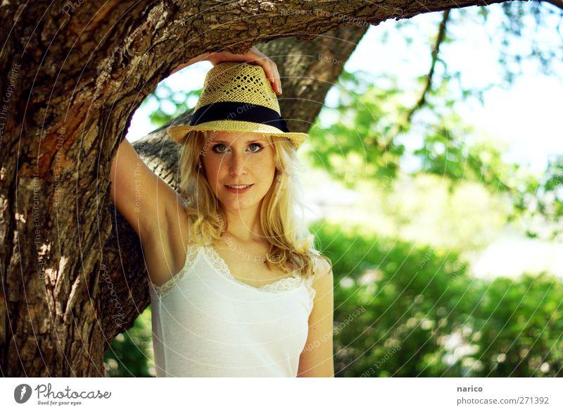 summertime X Feminine Young woman Youth (Young adults) Adults 1 Human being 18 - 30 years Nature Plant Tree Hat Straw hat Blonde Long-haired Relaxation Smiling