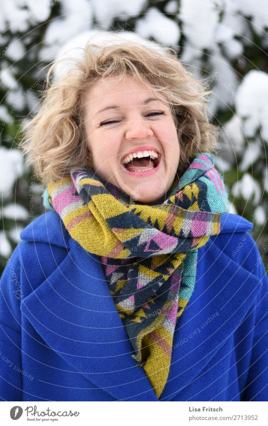 What joy... blonde, laughing, whitey jacket, colourful scarf Lifestyle Beautiful Vacation & Travel Winter Snow Woman Adults 1 Human being 18 - 30 years
