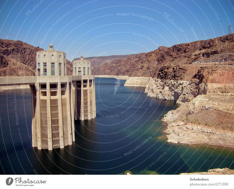Hoover Dam.01 Sightseeing Ocean Mountain Technology Energy industry Renewable energy Hydroelectric  power plant Architecture Landscape Air Water Cloudless sky