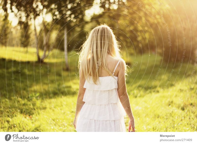 Summer Thing Human being Youth (Young adults) White Green Beautiful Joy Adults Yellow Feminine Movement Hair and hairstyles Happy Head Dream Young woman Blonde