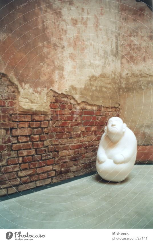 little man Exhibition Wall (building) White Obscure art academy Statue Loneliness