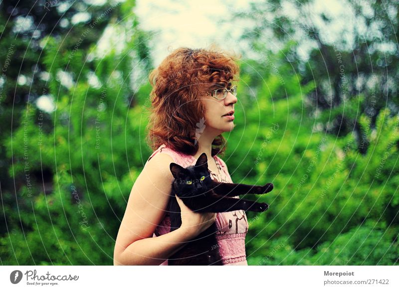 Black Cat Human being Woman Nature Green Tree Summer Animal Adults Feminine Hair and hairstyles Garden Park Brown Body
