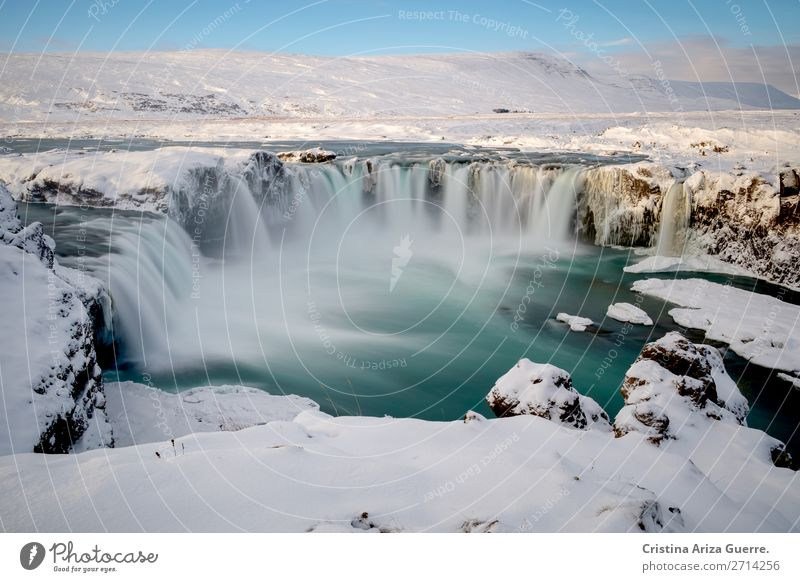 Godafoss waterfall in Iceland winter iceland godafoss long exposure snow landscape nature Water Waterfall Exterior shot Tourism Day Vacation & Travel