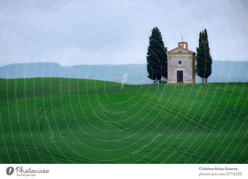 Capella della Madonna di Vitaleta, Tuscany capella madonna vitaleta chapel tuscany italy green grass cypress fields meadow Nature Exterior shot Hill