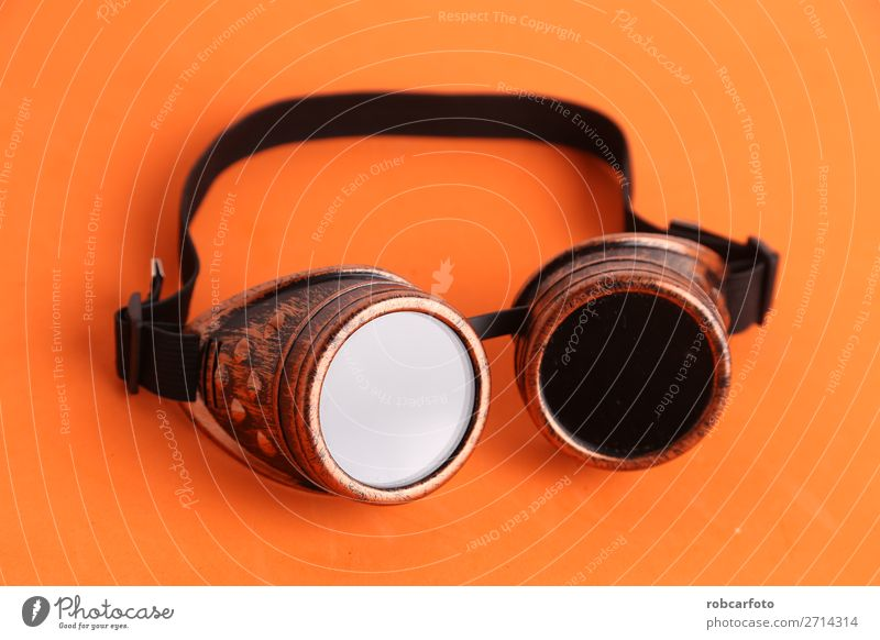Steampunk type welder glasses for disguise Sun Work and employment Hand Lanes & trails Fashion Leather Accessory Dark Retro Black White Safety Protection