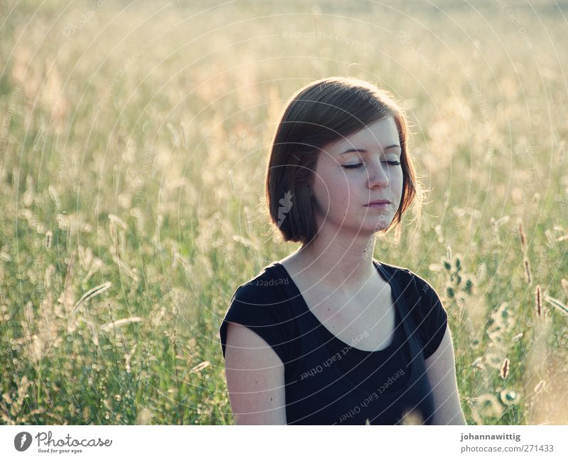 Human being Nature Youth (Young adults) Beautiful Plant Sun Summer Calm Face Adults Relaxation Environment Meadow Feminine Grass Young woman