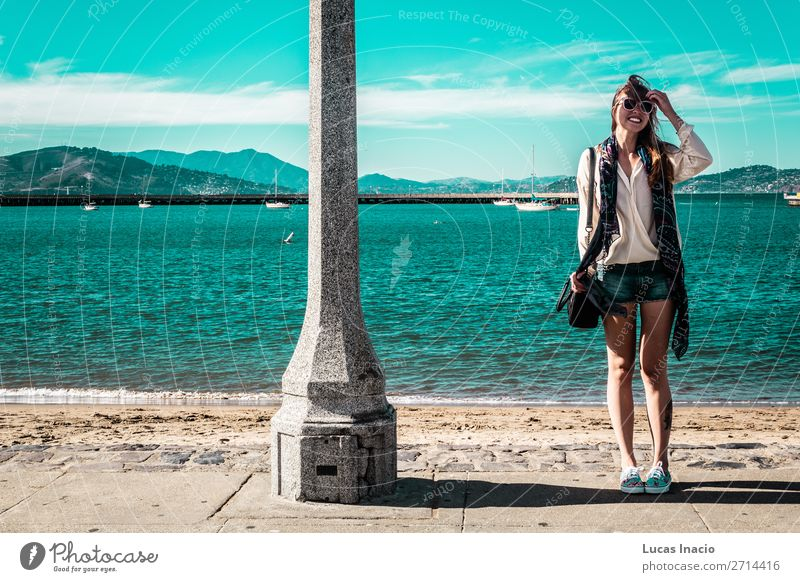 Girl at San Francisco Coast, California Vacation & Travel Tourism Summer Beach Ocean Human being Feminine Young woman Youth (Young adults) Woman Adults 1