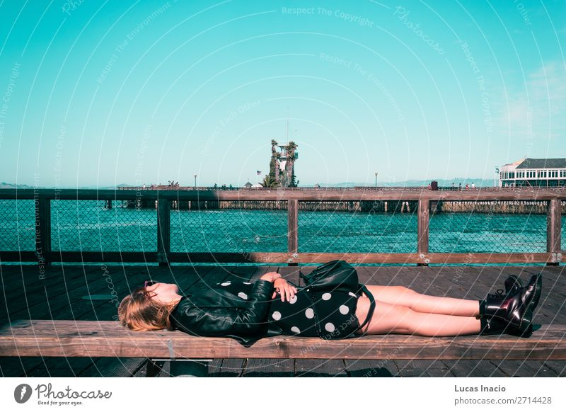 Girl Lying Down on a Bench at San Francisco, California Vacation & Travel Tourism Summer Beach Ocean Human being Young woman Youth (Young adults) Woman Adults 1
