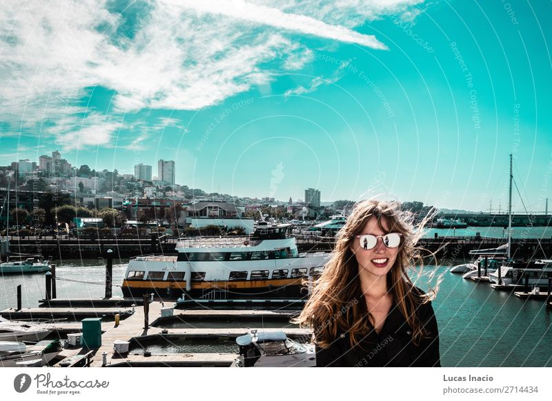 Girl at San Francisco Coast, California Vacation & Travel Tourism Summer Beach Ocean House (Residential Structure) Office Business Human being Feminine