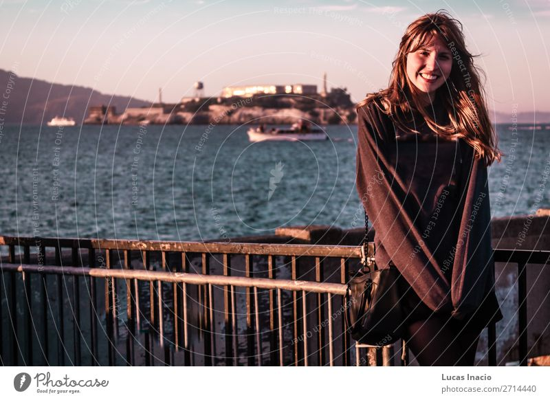 Girl in front of Alcatraz Prison in San Francisco, California Vacation & Travel Tourism Summer Beach Ocean Island Human being Feminine Young woman