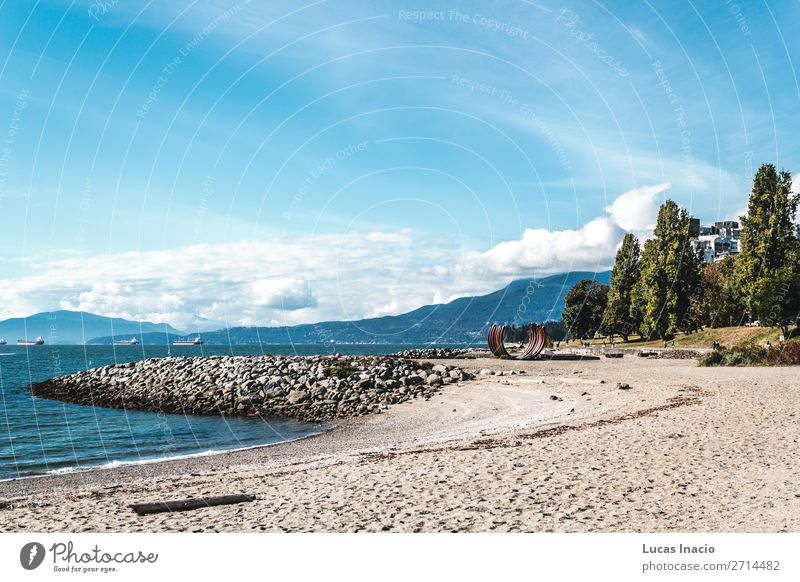 Sunset Beach in Vancouver, Canada Summer Ocean Environment Nature Sand Sky Tree Leaf Park Rock Coast Downtown Skyline Adventure Relaxation Vacation & Travel