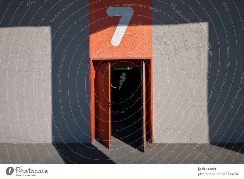 Opening hours no. 7 Wall (building) Signs and labeling Stripe Sharp-edged Retro Orange Symmetry Light threshold Column Ground Neutral Background Shadow
