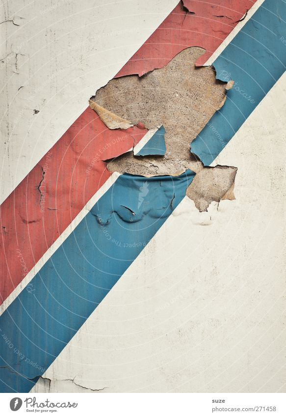 Woodstock in Paris Art Work of art Wall (barrier) Wall (building) Facade Stripe Old Authentic Dirty Broken Blue Red White Stagnating Decline Transience