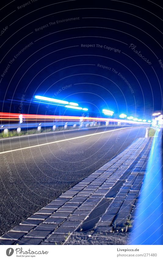 Blue light at night Services Transport Means of transport Traffic infrastructure Road traffic Motoring Street Bridge Vehicle Car Illuminate Colour photo
