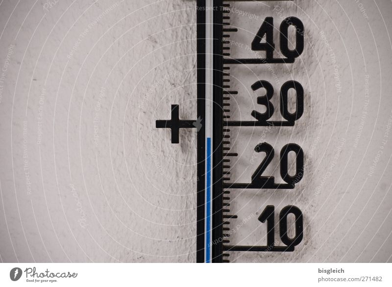 Almost 30 degrees Thermometer Summer Hot Warmth Blue Gray Black Colour photo Subdued colour Exterior shot Deserted Copy Space left Neutral Background Day