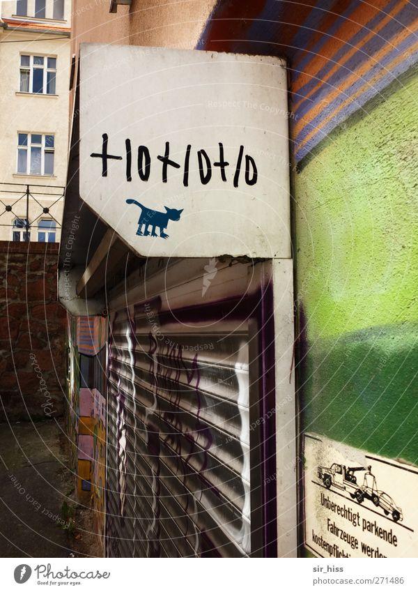 Cat Green White City Loneliness Calm Graffiti Art Orange Facade Closed Esthetic Shopping Romance Transience Violet