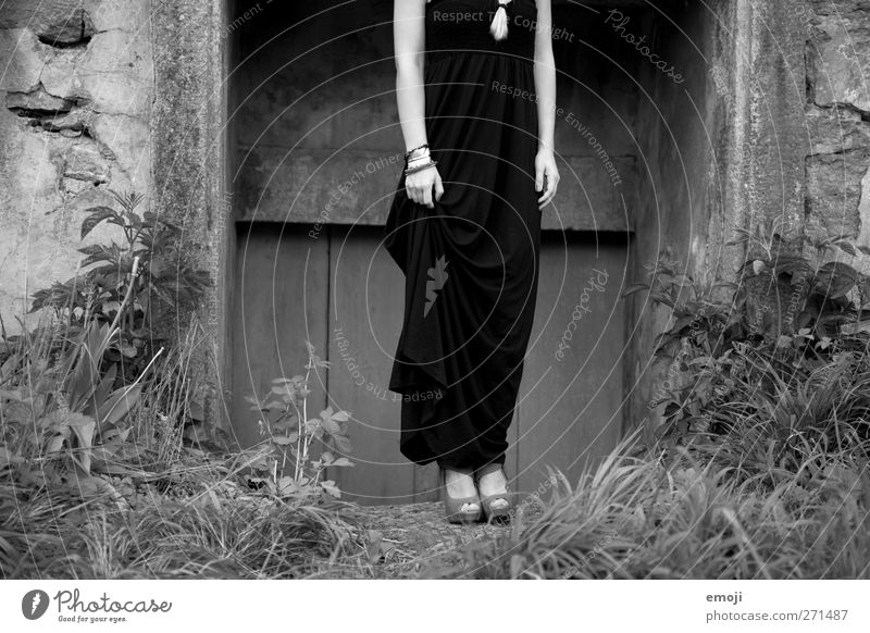 elegance Feminine Young woman Youth (Young adults) 1 Human being 18 - 30 years Adults Fashion Dress Beautiful Elegant Black & white photo Exterior shot Day