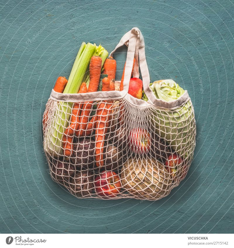 Reusable shopping bag full of organic vegetables Food Vegetable Nutrition Organic produce Vegetarian diet Diet Shopping Style Design Store premises Recycling