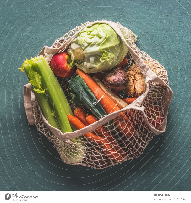 Organic vegetables in environmentally friendly net bag Food Vegetable Shopping Design Healthy Eating Style Organic produce net bags Eco-friendly Ecological