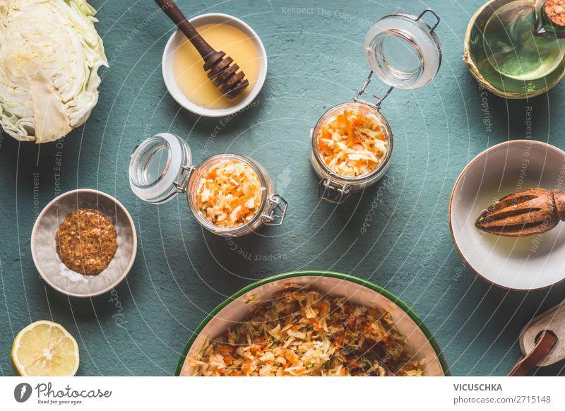 Cabbage salad in glasses with ingredients Food Vegetable Lettuce Salad Nutrition Lunch Organic produce Vegetarian diet Diet Bowl Glass Design Healthy Eating