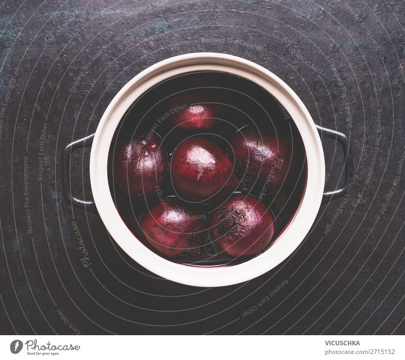 Whole boiled beetroot in a saucepan Food Vegetable Pot Style Design Healthy Healthy Eating Table Kitchen Red beet Cooking entirely Rapes Ingredients