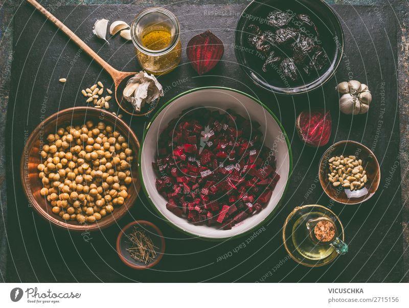 Vegan Salad Ingredients with Beetroot Food Vegetable Nutrition Crockery Bowl Style Design Healthy Healthy Eating Table Vegan diet Cooking Vitamin Red beet