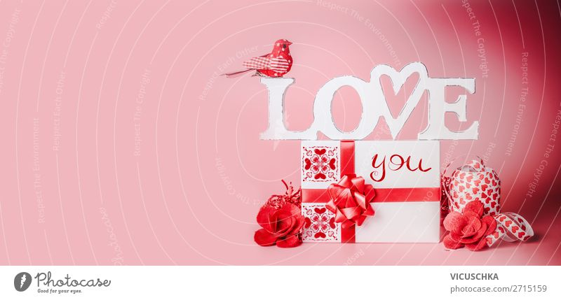 Valentine's Day Background with Gift Shopping Style Design Decoration Party Event Feasts & Celebrations Bow Heart Flag Love Red Tradition Background picture