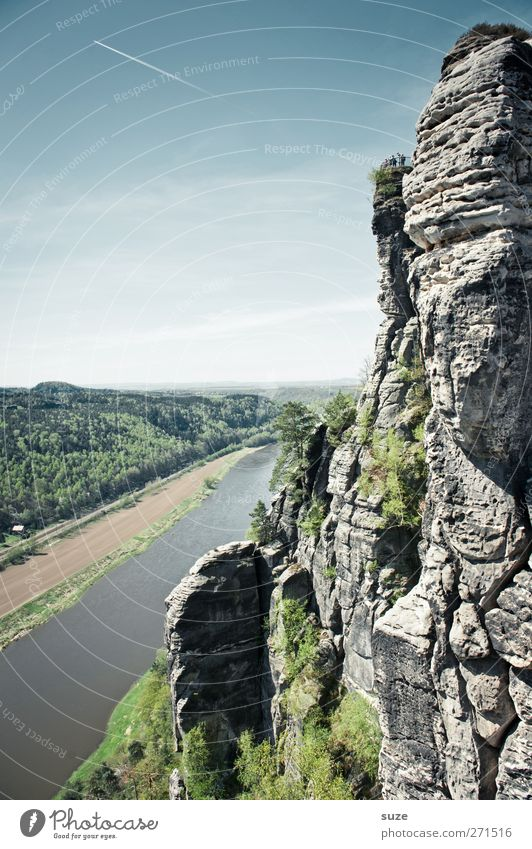 Beautiful Elbe Environment Nature Landscape Sky Cloudless sky Spring Climate Beautiful weather Rock Mountain River bank Authentic Large Tall Wild Blue Green