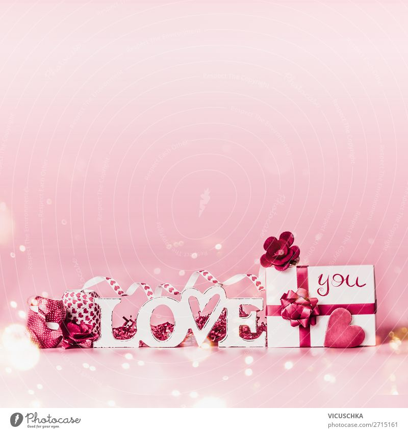 Valentine's Day Background with Love and Gift Style Design Decoration Feasts & Celebrations Heart Pink Red White Background picture Communication Love you Bow