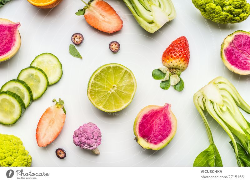 Colourful summer fruits and vegetables on white Food Vegetable Lettuce Salad Fruit Nutrition Organic produce Vegetarian diet Diet Shopping Design Healthy
