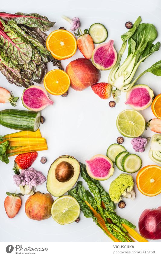 Seasonal summer fruit and vegetables Food Vegetable Lettuce Salad Fruit Nutrition Shopping Style Design Healthy Eating Summer Yellow Background picture Vitamin