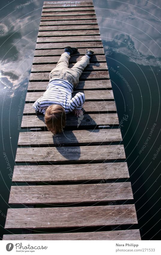 Human being Child Sky Nature Blue Water Vacation & Travel Sun Summer Joy Clouds Environment Boy (child) Small Legs Dream