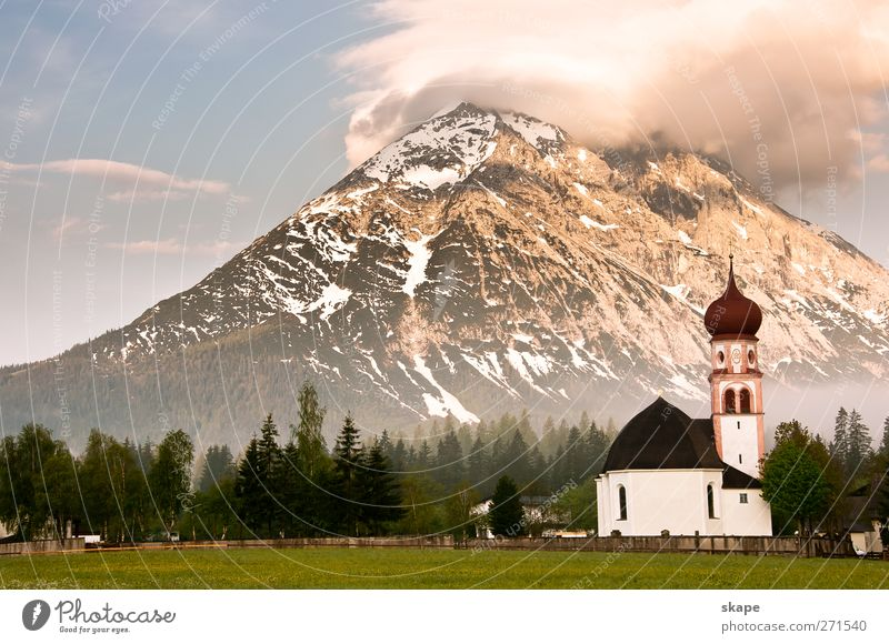 High Mouth Nature Landscape Fog Forest Alps Mountain Church Large Kitsch Blue Green Adventure Leisure and hobbies Gaistal Colour photo Exterior shot Deserted