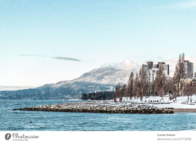 Vancouver beach covered in snow, BC, Canada Beach Ocean Winter Snow Mountain Environment Nature Sand Sky Clouds Snowfall Tree Leaf Hill Rock Coast Downtown