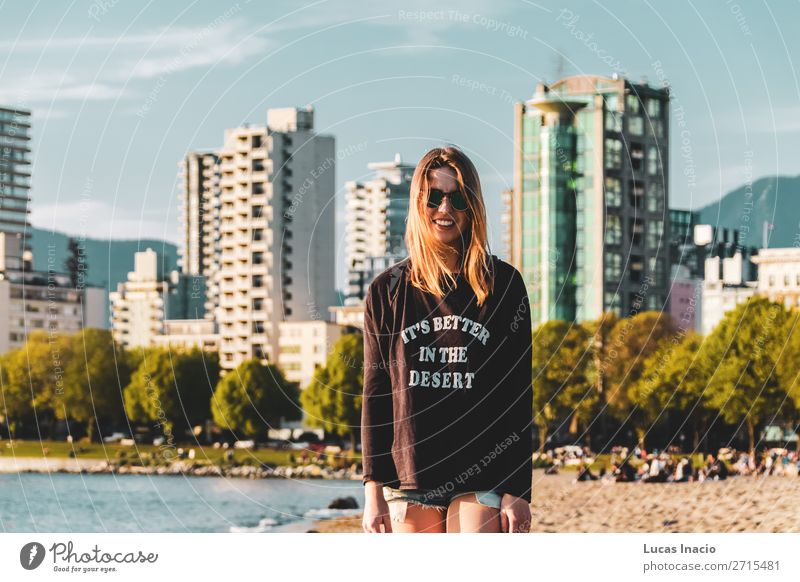 Girl at English Bay Beach in Vancouver, BC, Canada Woman Human being Nature Youth (Young adults) Young woman Summer Tree Ocean Flower