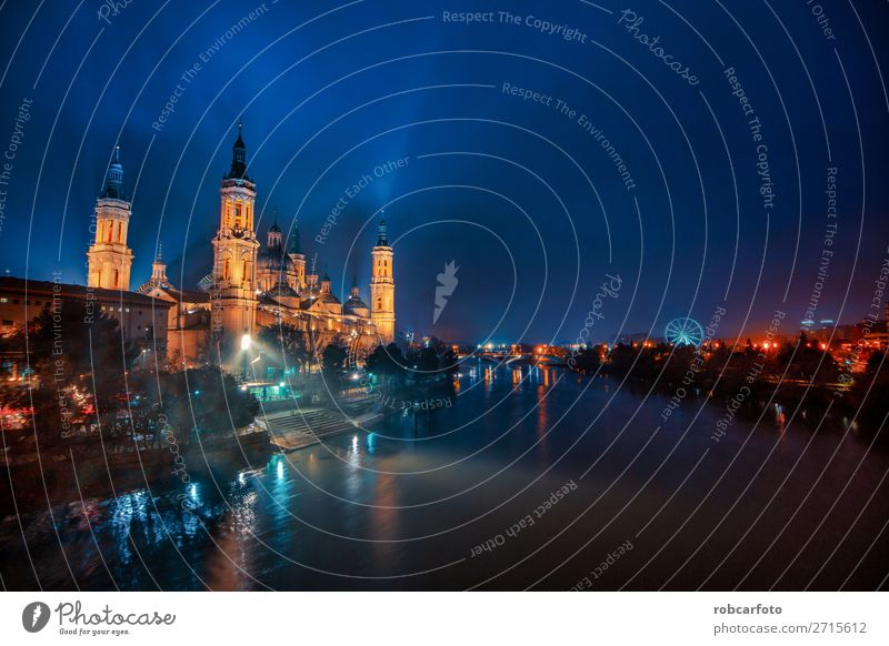 River Ebro and the Cathedral of El Pilar Vacation & Travel Tourism Culture Sky Church Bridge Building Architecture Monument Old Historic Colour zaragoza pilar