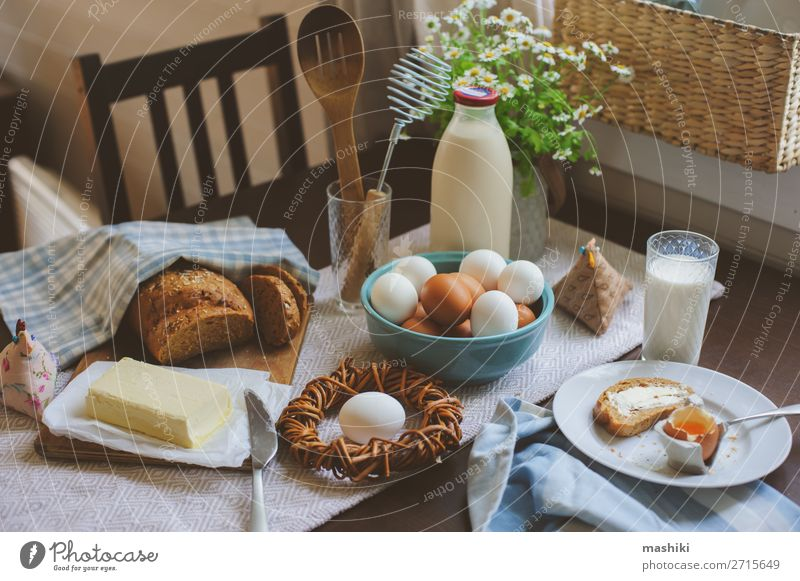 country breakfast on rustic home kitchen with farm eggs Bread Breakfast Plate Decoration Table Kitchen Easter Fresh Natural Green Tradition food spring Meal