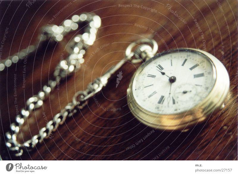 Wood Glittering Gold Clock Silver Fob watch