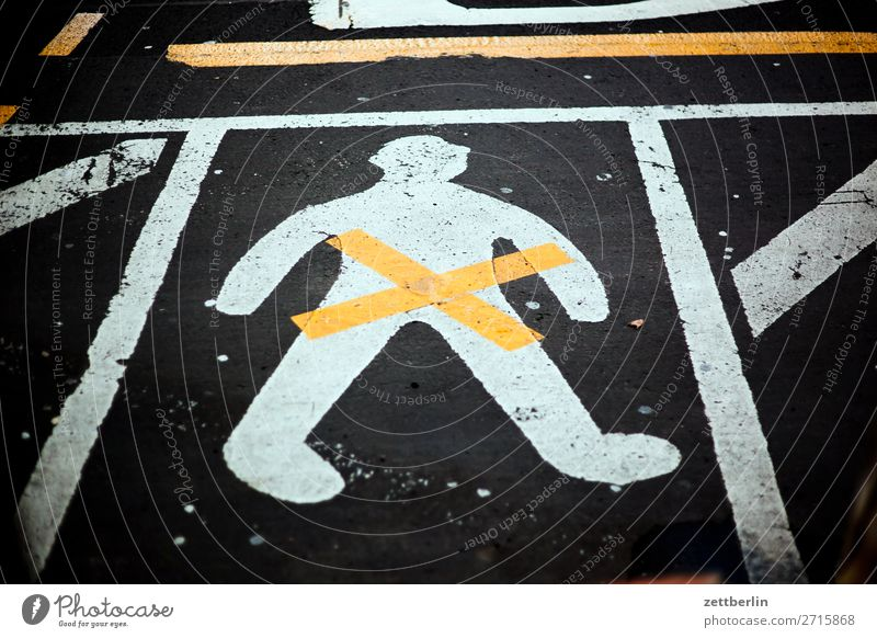 human Asphalt Lane markings Signage Warning label Clue Crucifix Line Man Human being Deserted Pictogram Street Copy Space Bans gender gender studies Equality