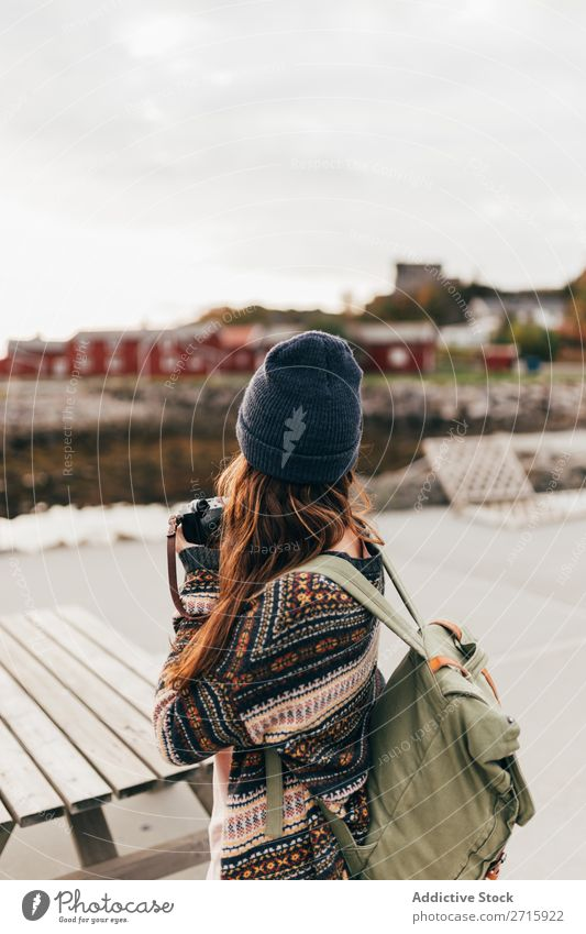 Woman with backpack and camera Camera Human being Tourist Nature Photography Settlement