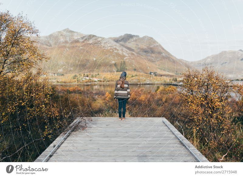 Woman on wooden pier at lake Jetty Lake Mountain Nature Vacation & Travel Youth (Young adults) Water