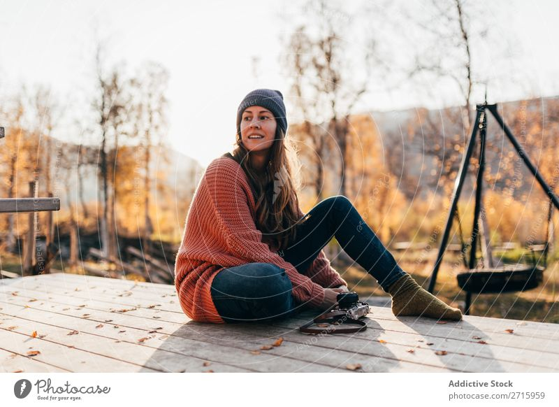 Girl sitting in autumn forest Woman Terrace Forest Autumn Camera Seasons Relaxation Lifestyle Nature Beautiful Landscape Yellow Warmth Vacation & Travel Happy